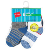 Hanes Boys Toddler 6-Pack Ankle Sock TB27W6