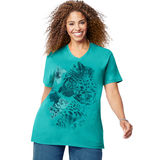 Just My Size Short-Sleeve V-Neck Womens Graphic Tee Jungle Flower Print J181