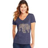 Hanes Women's Pattern Elephant Short Sleeve V-Neck Tee GT9337 Y06918