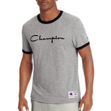 Champion Men's Heritage Ringer Tee, Flocked Script Logo T39474 549814