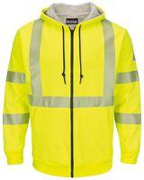 Bulwark Hi-Visibility Zip-Front Hooded Fleece Sweatshirt with Waffle Lining - Long Sizes SMZ4HVL