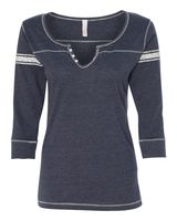 MV Sport Women's Hailey Henley Three-Quarter Sleeve Shirt W1454