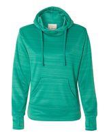 J. America Women's Odyssey Striped Performance Fleece Lapover Hooded Sweatshirt 8662