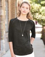 J. America Women's Oasis Wash Three-Quarter Sleeve T-Shirt 8232