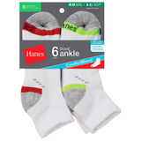 Hanes Boys Comfort Blend Assorted White Ankle Socks 6-Pk 432/6