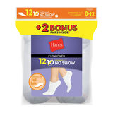 Hanes Womens Cushion No-Show Socks White 12-Pack 650/12