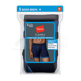 Hanes Classics Mens TAGLESS No Ride-up Ringer Boxer Briefs with Comfort Flex Waistband 5-Pk 7694R5