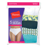 Hanes Womens Plus Size Cotton Hi-Cut Panties 5-Pk P543WB
