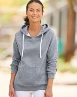 J. America Women's Sueded V-Neck Hooded Sweatshirt 8836