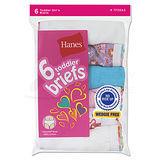 Hanes TAGLESS Toddler Girls Cotton Briefs 6-Pk TP30AS