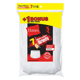 Hanes Boys TAGLESS White Briefs 7-Pack (Includes 1 Free Bonus Boxer Brief) B252P7