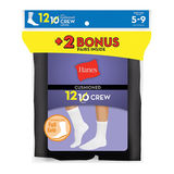 Hanes Womens Cushion Crew Socks Black 12-Pack 683/12