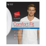 Hanes Ultimate Men's Comfort Fit White V-Neck Undershirt 4-Pack UFT2W4