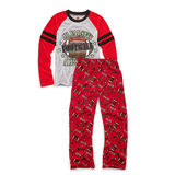 Hanes Boys Sleepwear 2-Piece Pajama Set, JV All-Star Print 6019C
