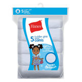 Hanes TAGLESS Cotton Stretch Toddler Girls' Cami White 5 Pack TV30P5