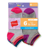 Hanes Girls Fashion Comfort Blend No-Show Socks 6-Pk 745/6