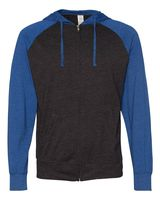 Independent Trading Co. Lightweight Jersey Raglan Hooded Full-Zip T-Shirt SS155RJZ