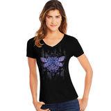 Hanes Women's Dragonfly Mandala Short-Sleeve V-Neck Graphic Tee GT9337 Y07650