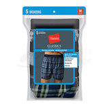 Hanes Classic Mens Yarn Dyed Exposed Waistband Boxer 5-Pk 798BP5