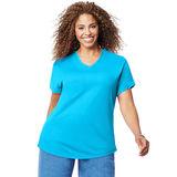 Just My Size Cotton Jersey Short-Sleeve V-Neck Women's Tee OJ091