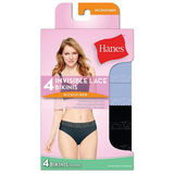 Hanes Women's Ultra Light Lace Bikini 4-Pack LW42AS