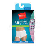 Hanes TAGLESS Cotton Stretch Womens Boy Brief Panties with ComfortSoft Waistband 3-Pk ET49AS