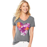 Hanes Women's Cambodia Stripe V-Neck Tee Shirt O9337