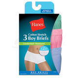Hanes Womens ComfortSoft Cotton Stretch Boy Brief with Lace Waistband 3-Pk ET49LC