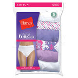 Hanes Womens No Ride Up Cotton Hi-Cut Panties 6-Pk PP43WB