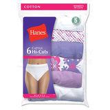 Hanes Women's No Ride Up Cotton Hi-Cut Panties 6-Pk PP43WB