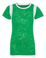 Blue 84 Juniors' Burnout Crewneck Football T-Shirt JBIT