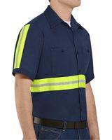 Red Kap Enhanced Visibility Short Sleeve Cotton Work Shirt Long Sizes SC40EL
