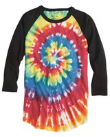 Dyenomite Tie Dye Three-Quarter Sleeve Raglan T-Shirt 660VR