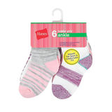 Hanes Toddler Girls' Ankle Socks 6-Pack TG37W6