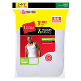 Hanes Mens White TAGLESS ComfortSoft A-Shirt Undershirt 7-Pk (Includes 1 Free Bonus A-Shirt) 372AG7