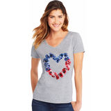 Hanes Women's Stars & Stripes Floral Heart Short Sleeve V-Neck Tee GT9337 Y06431