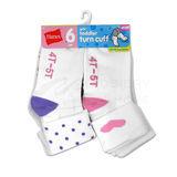 Hanes Girls Infant Toddler Turn Cuff Socks 6-Pk 36/6