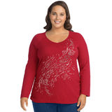 JMS Long Sleeve Side Shirred Graphic Tee-Peace Within J37902