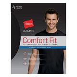 Hanes Ultimate Men's Comfort Fit Ultra Soft Cotton/Modal Crew-Neck Undershirt Assorted Black/Grey 4-Pack UFT1B4