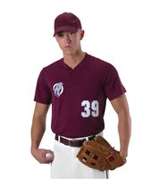 Alleson Athletic Baseball Two Button Henley Jersey A00011