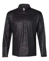 Badger Line Embossed Quarter-Zip Long Sleeve Tee 4134