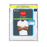 Hanes Classic Men's White Crew Neck T-Shirt 6-Pk 7870W6