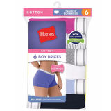 Hanes Women's Cotton Boy Brief Panties 6-Pack P649SC
