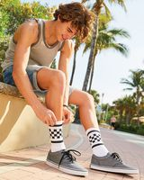 SOCCO USA-Made Checkered Crew Socks SC300