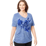 Just My Size by Hanes Women's Plus-Size Short-Sleeve V-Neck Hazy Framework T-Shirt J342