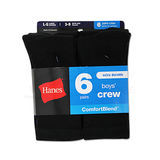Hanes Boys Crew Comfortblend Black EZ Sort Socks 6-Pk 431/6B