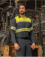 Red Kap Hi-Visibility Colorblock Ripstop Long Sleeve Work Shirt - TALL SY70L