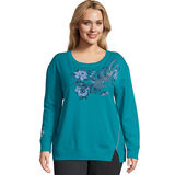 Just My Size French Terry Side Zip Graphic Crew Sweatshirt OJ943