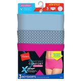 Hanes X-Temp Constant Comfort Womens Microfiber Boyshort Panties 3-Pack MI47P3
