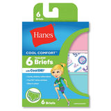 Hanes Girls' Cool Comfort Briefs with Cool Dri 6-Pack GCSCB6